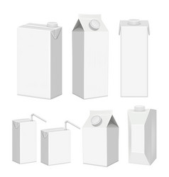 Realistic white blank juice carton package vector