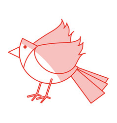 Red shading silhouette of cartoon bird vector