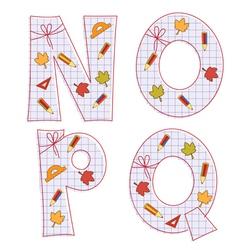 sheet alphabet Letter N O P Q vector image vector image