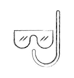Sketch draw mask and snorkel cartoon vector