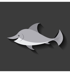 tender cute dolphin card icon vector image vector image