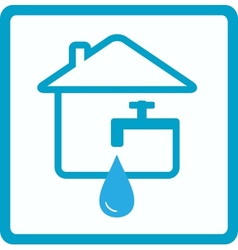 Water in house with silhouette of faucet vector