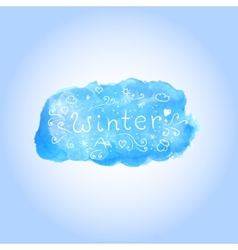 Watercolor winter poster with hand drawn text vector