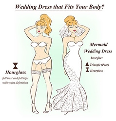 Woman in underwear and mermaid wedding dress vector