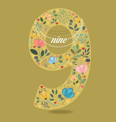 Yellow number nine with floral decor and necklace vector
