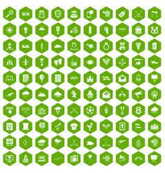 100 arrow icons hexagon green vector