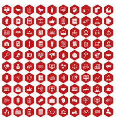 100 dialog icons hexagon red vector