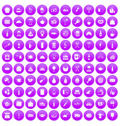 100 restaurant icons set purple vector