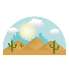 Desert landscape background icon vector