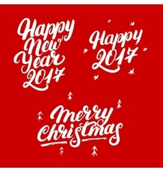 Set of Happy New Year 2017 and Merry Christmas vector image