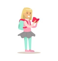 Girl with backpack who loves to read vector
