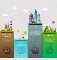 Different places to travel business infographic vector