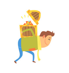 Cartoon man carrying the treasure chest on his vector