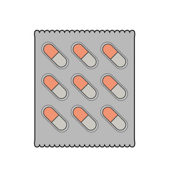 Color image cartoon pack for capsule pills vector