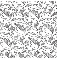 Autumn leaves seamless pattern repeating vector
