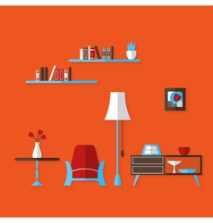 Flat living room over red vector