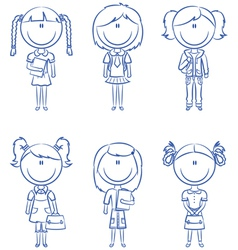 school girls with books and bags vector image
