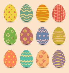 Easter set old ornamental eggs with shadows vector