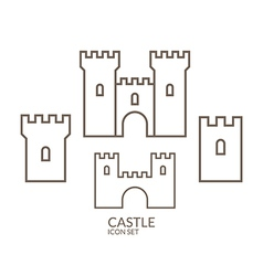 Castle icon set outline vector