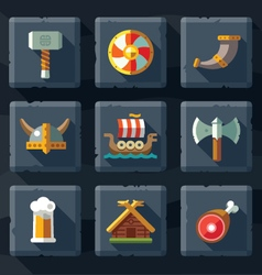 Vikings and Scandinavian items vector image