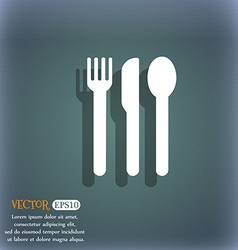 Fork knife spoon icon symbol on the blue-green vector