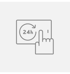 Available around the clock line icon vector
