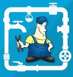 Master for repair plumbing vector
