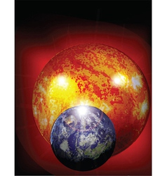 earth and sun in cosmos vector image