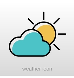 Sun and cloud icon meteorology weather vector