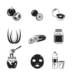 Health skin face and body icons set monochrome vector