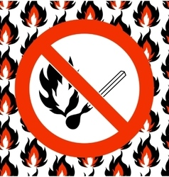 No matches prohibited symbol on seamless fire vector