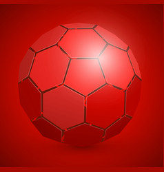 Abstract soccer 3d ball red vector