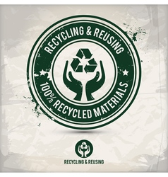 Alternative recycling and reusing stamp vector