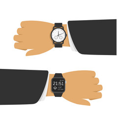 Analog and smart watch vector