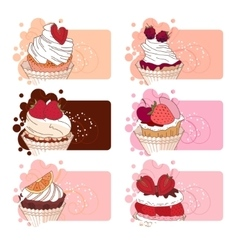 Banners with different desserts with fruits For vector image vector image