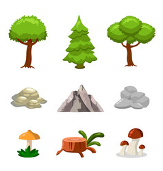 cartoon nature landscape elements set trees vector image