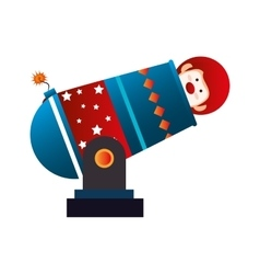 Clown cannon circus icon vector