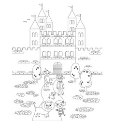 Coloring wizard of oz 05 the emerald castle vector