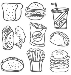 Doodle of food style hand draw vector