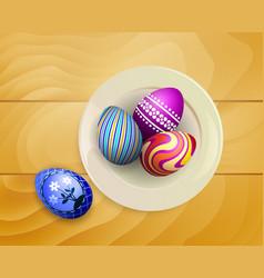 Eggs on wood vector