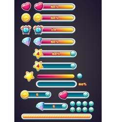 Game icons with progress bar digging as well as a vector image vector image