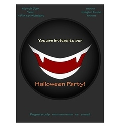 Halloween party invitations with vampire smile vector image vector image