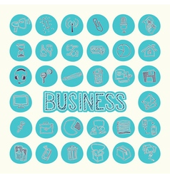 Hand drawn icons set of business Blue circle vector image
