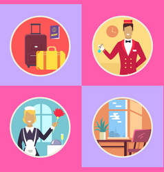 Hotel conveniences round cartoon set vector