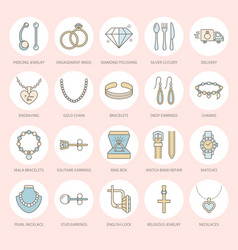 Jewelry flat line icons jewellery store signs vector