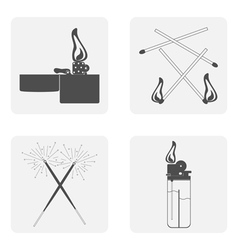 Monochrome set with lighter match fire vector