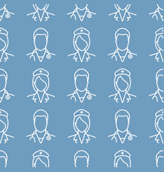 nurse and doctor pattern vector image