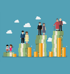 people generations with retirement money plan vector image