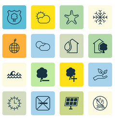 Set of 16 eco icons includes home sun power vector