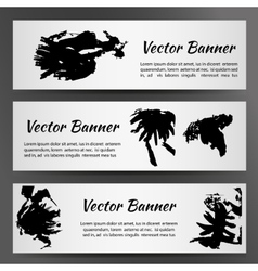 Set of three white banners with inkblots vector